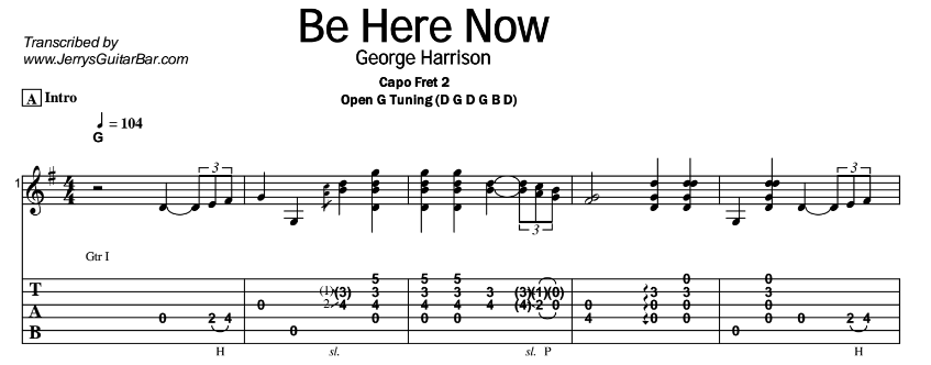 George Harrison – Be Here Now Tab
