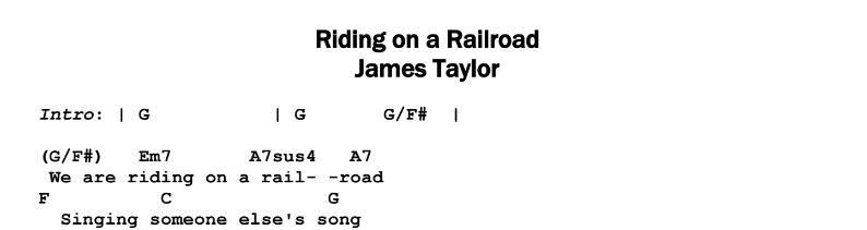 James Taylor – Riding on a Railroad Chords & Songsheet