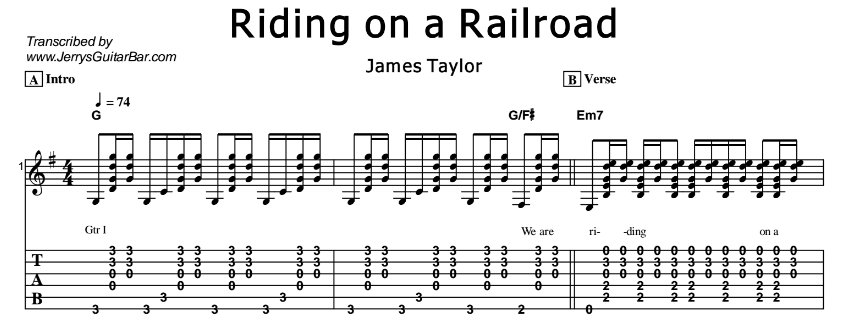 James Taylor – Riding on a Railroad Tab