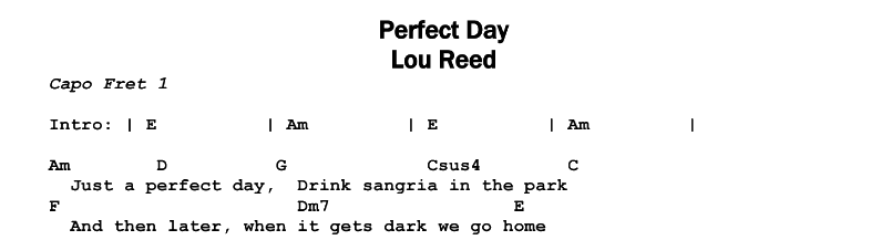 Lou Reed – Perfect Day Chords & Songsheet