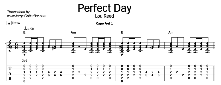 Lou Reed – Perfect Day - Guitar Lesson - Jerry\'s Guitar Bar