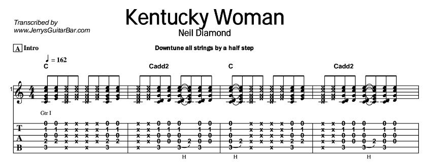 Neil Diamond – Kentucky Woman Tab