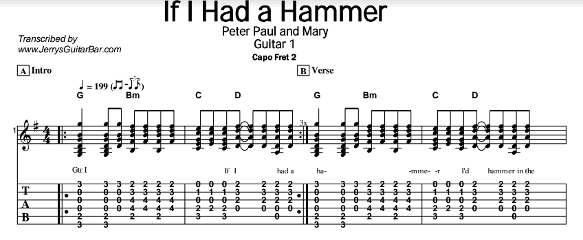 Peter Paul and Mary – If I Had a Hammer Tab