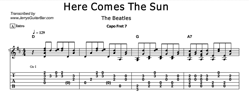 The Beatles – Here Comes The Sun - Jerry\'s Guitar Bar