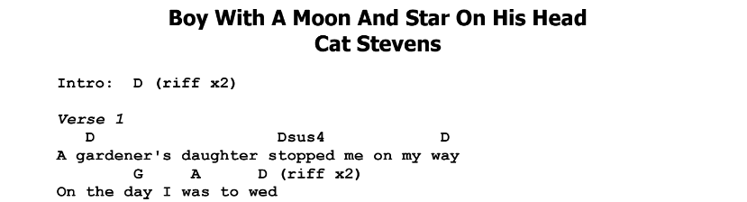 Cat Stevens – Boy With A Moon And Star On His Head Chords & Songsheet