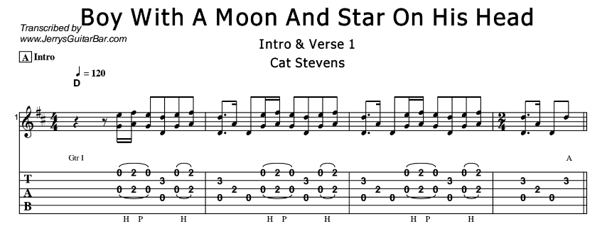 Cat Stevens – Boy With A Moon And Star On His Head Tab