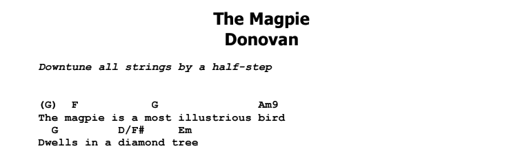 Donovan - The Magpie Chords & Songsheet