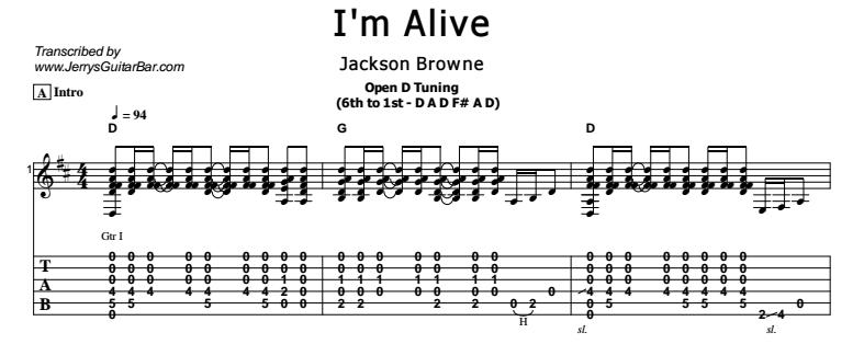 Jackson Browne - I'm Alive Tab