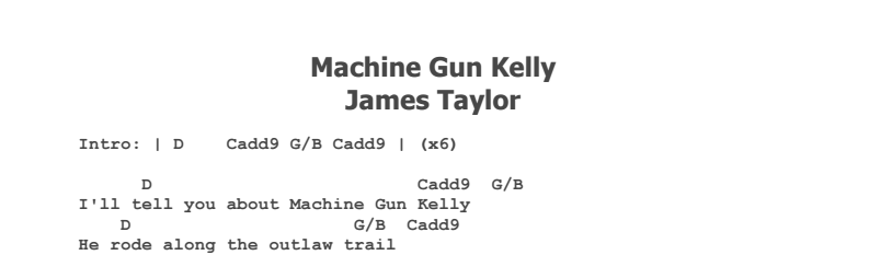 James Taylor - Machine Gun Kelly Chords & Songsheet