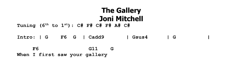 Joni Mitchell – The Gallery Chords & Songsheet