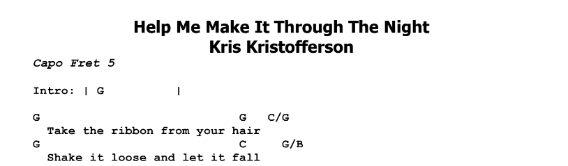 Kris Kristofferson – Help Me Make It Through The Night Chords & Songsheet
