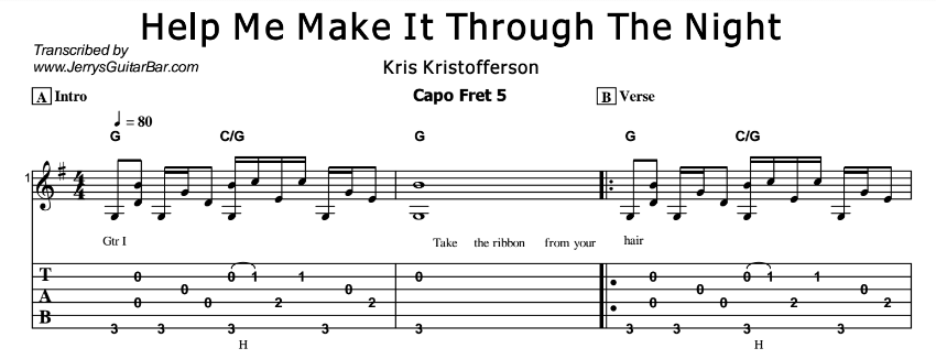 Kris Kristofferson – Help Me Make It Through The Night Tab