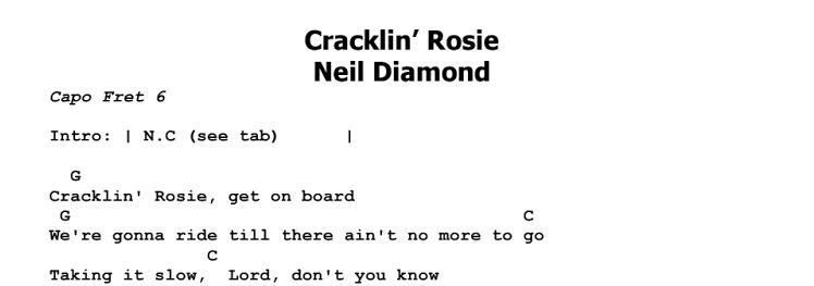 Neil Diamond – Cracklin' Rosie Chords & Songsheet