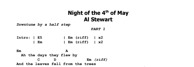 Al Stewart - Night of the 4th of May Chords & Songsheet