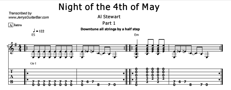 Al Stewart - Night of the 4th of May Tab