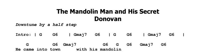 Donovan - The Mandolin Man and His Secret Chords & Songsheet