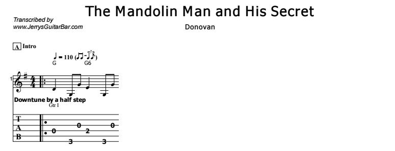 Donovan - The Mandolin Man and His Secret Tab