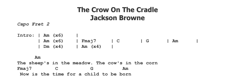 Jackson Browne - The Crow On The Cradle Chords & Songsheet