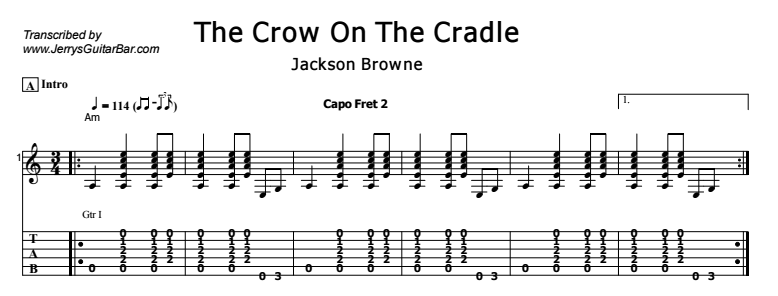 Jackson Browne - The Crow On The Cradle Tab