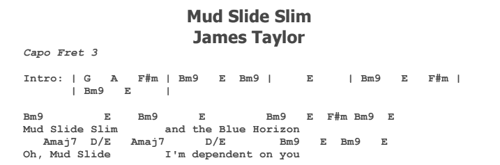 James Taylor - Mud Slide Slim Chords & Songsheet