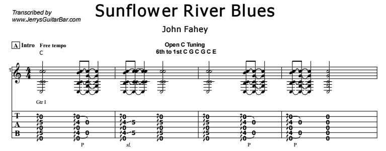 John Fahey - Sunflower River Blues Tab