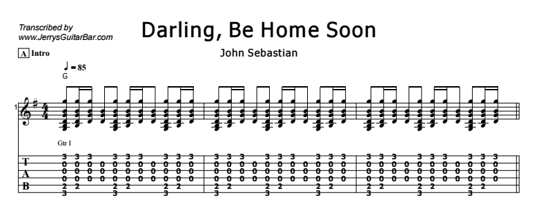 Darling Be Home Soon | Guitar Lesson, Tab & Chords | Jerry\'s Guitar Bar