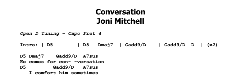 Joni Mitchell - Conversation Chords & Songsheet