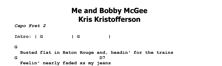 Kris Kristofferson - Me and Bobby McGee Chords & Songsheet