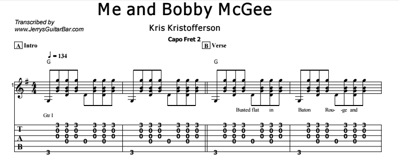 Me and Bobby McGee | Guitar Lesson, Tab & Chords | JGB
