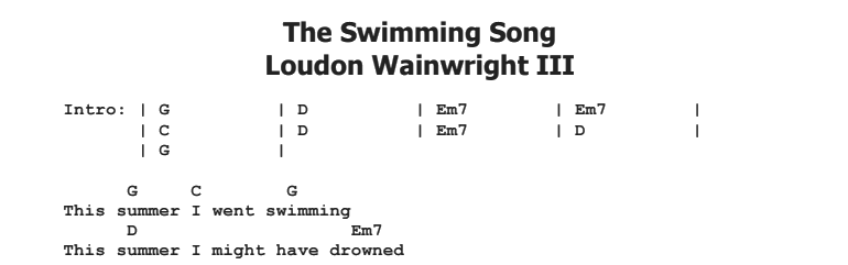 Loudon Wainwright III - The Swimming Song Chords & Songsheet