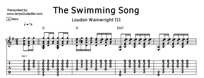 Loudon Wainwright III - The Swimming Song Tab