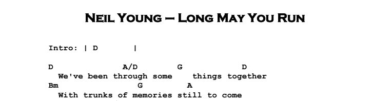 Neil Young - Long May You Run (acoustic) Chords & Songsheet
