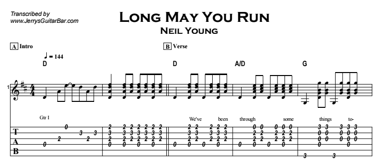 Neil Young - Long May You Run (acoustic) Tab
