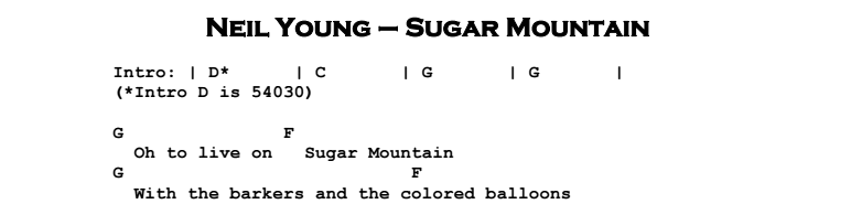 Neil Young - Sugar Mountain Chords & Songsheet