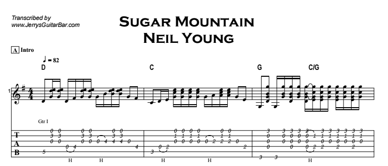 Neil Young - Sugar Mountain Tab