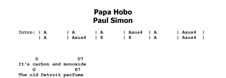 Paul Simon - Papa Hobo Chords & Songsheet