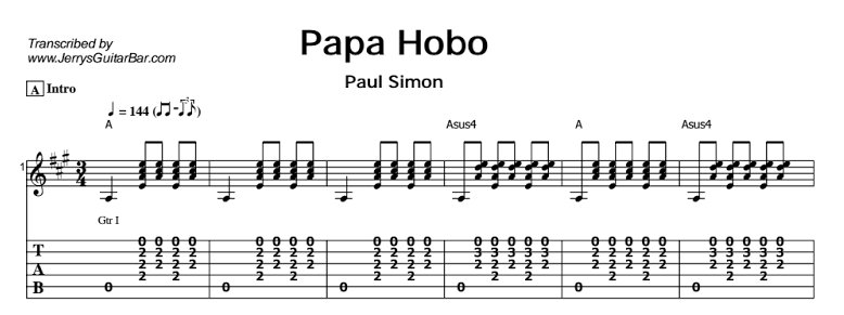 Paul Simon - Papa Hobo Tab