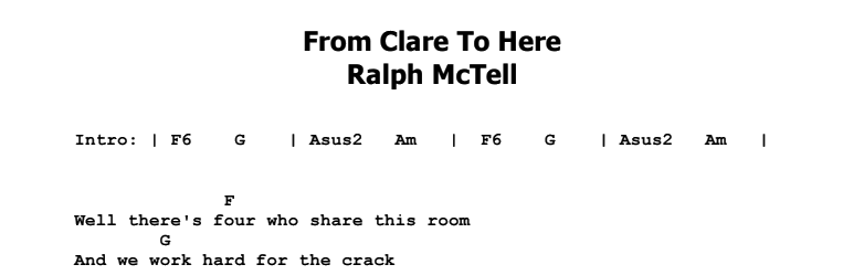 Ralph McTell - From Clare To Here Chords & Songsheet