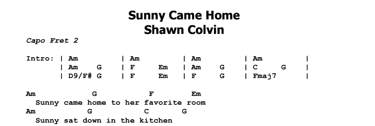 Shawn Colvin - Sunny Came Home Chords & Songsheet