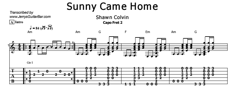 Shawn Colvin - Sunny Came Home Tab