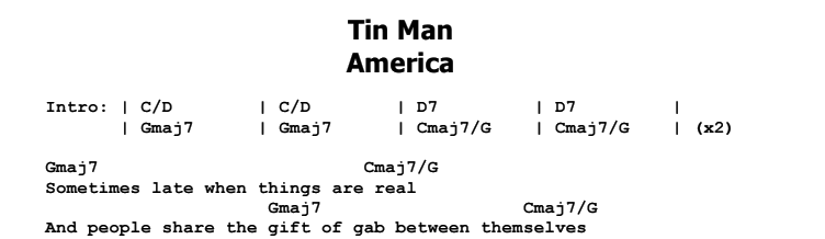 America - Tin Man Chords & Songsheet