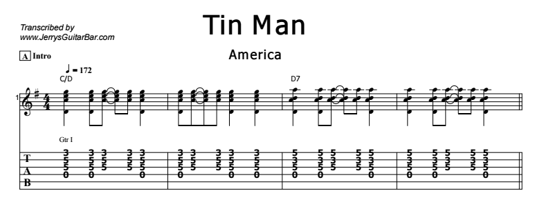 America - Tin Man Tab