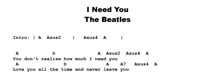 The Beatles - I Need You Songsheet & Chords