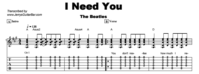 The Beatles - I Need You Tab