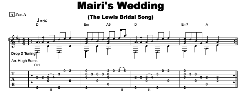 Celtic Instrumental - Mairi's Wedding (The Lewis Bridal Song) Tab