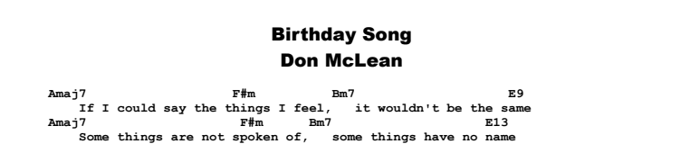 Don McLean - Birthday Song Chords & Songsheet