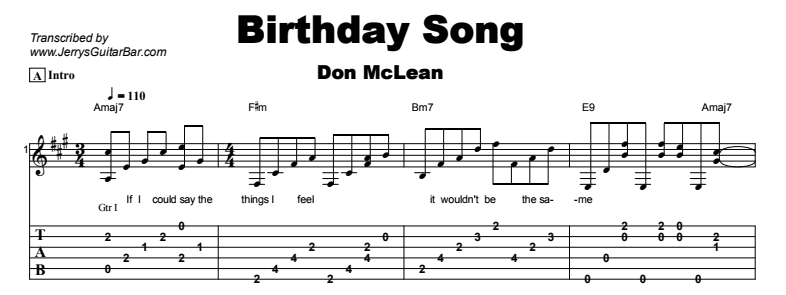 Don McLean - Birthday Song Tab