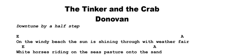 Donovan - The Tinker and the Crab Chords & Songsheet