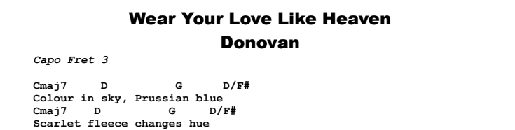 Donovan - Wear Your Love Like Heaven Chords & Songsheet