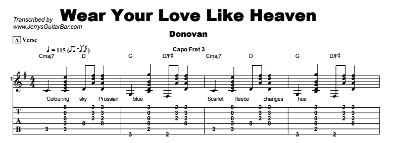 Donovan - Wear Your Love Like Heaven Tab